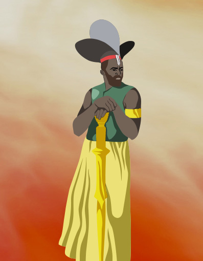 Features Olodumare, chief deity in African mythology