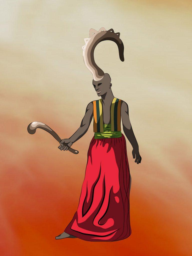 Black fantasy art featuring Eshu Elegbara, god of crossroads, carrying a cudgel