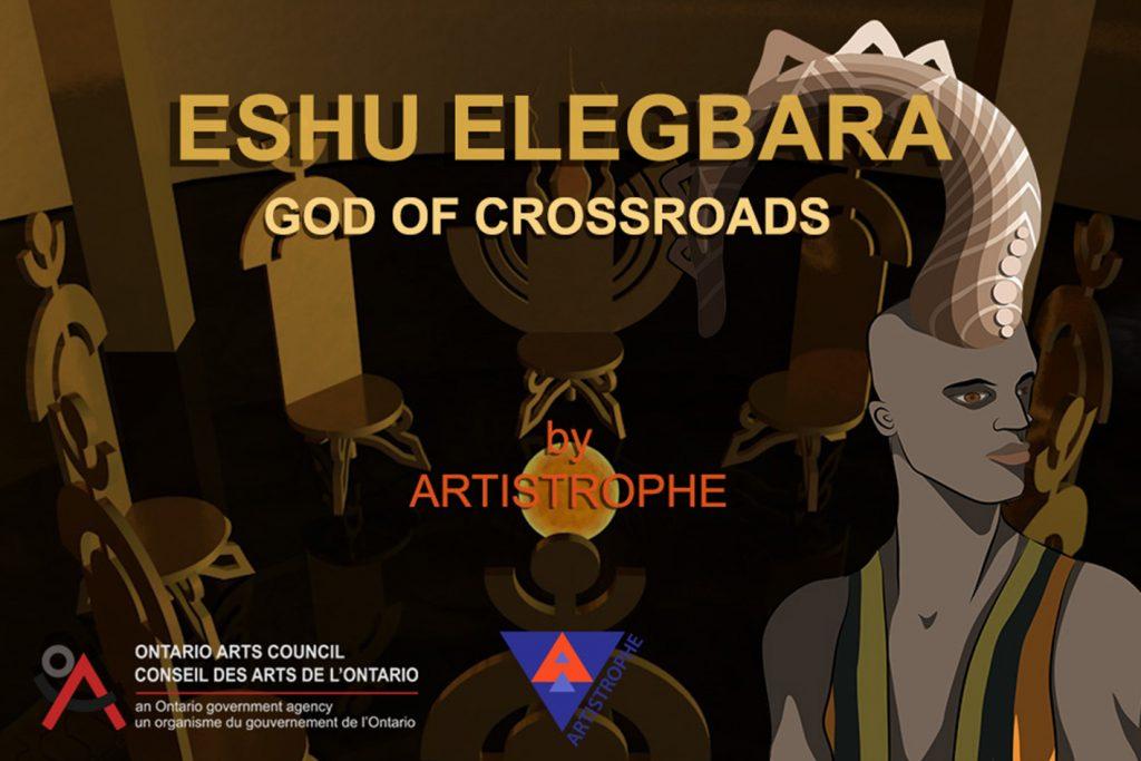 Black fantasy art featuring Eshu Elegbara: God of Crossroads game poster