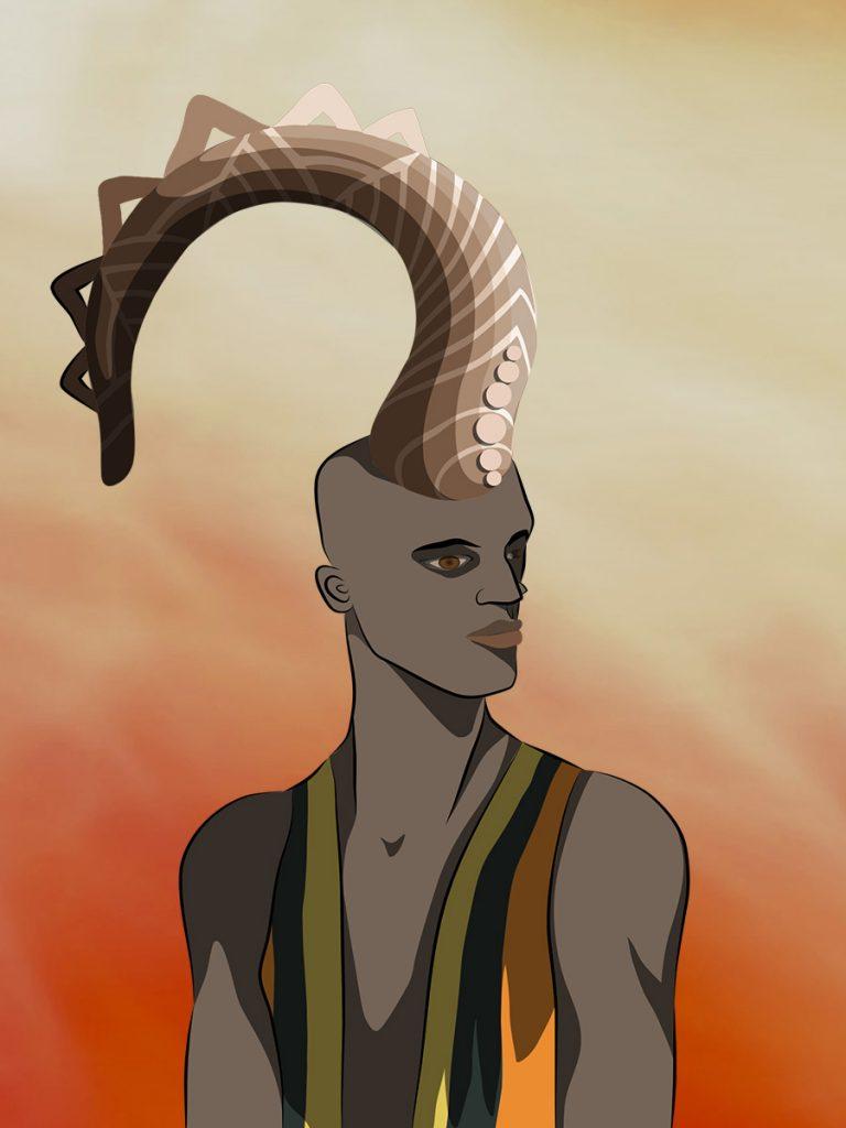 Black fantasy art featuring the portrait of Eshu Elegbara, God of Crossroads