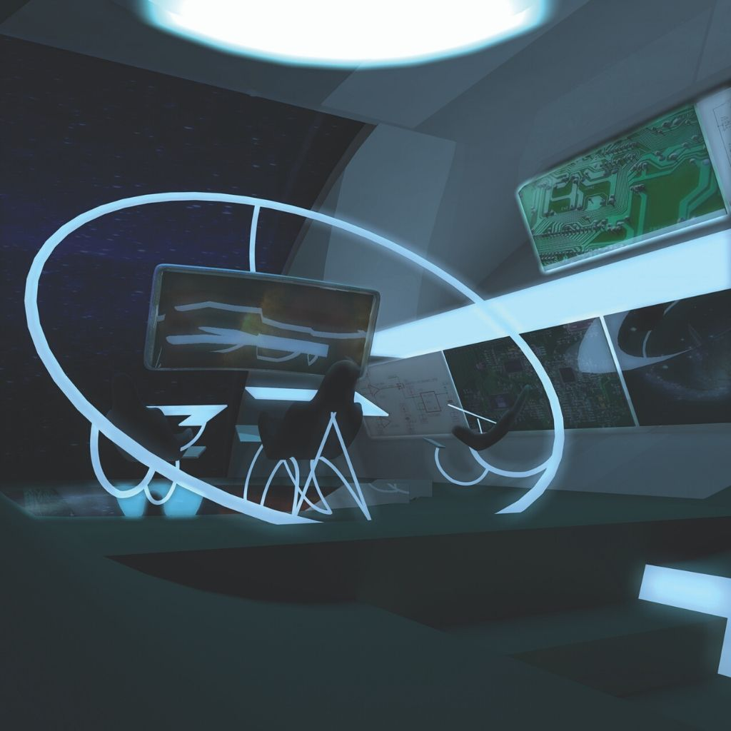 A piece of science fiction featuring a 3D-generated interior of the spaceship, The Nkoloso 1