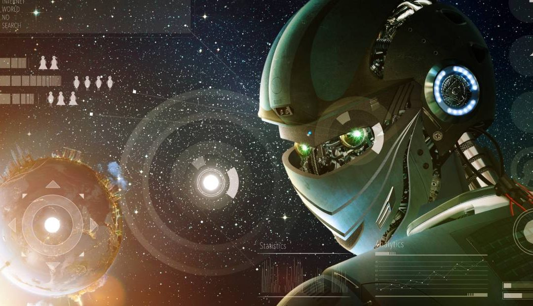 A cyborg in a cosmic environment glancing over its shoulder denotes artificial intelligence and consciousness
