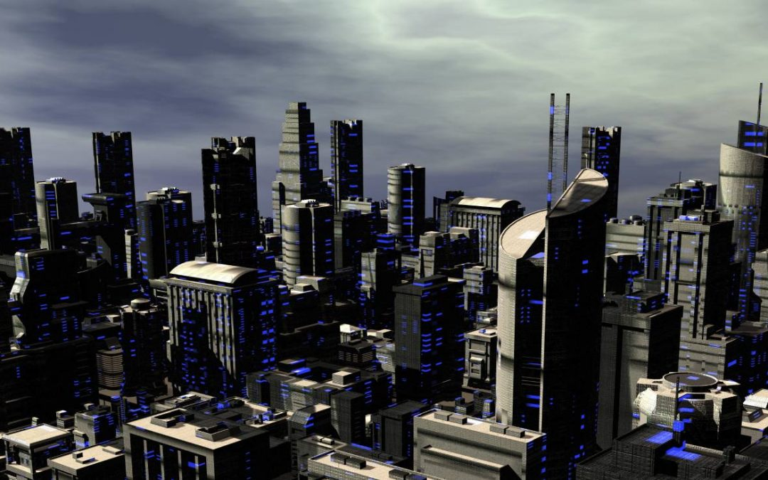 This futuristic city skyline with brooding gray skies in the background was created using digital art. It is typical of dystopian future art.