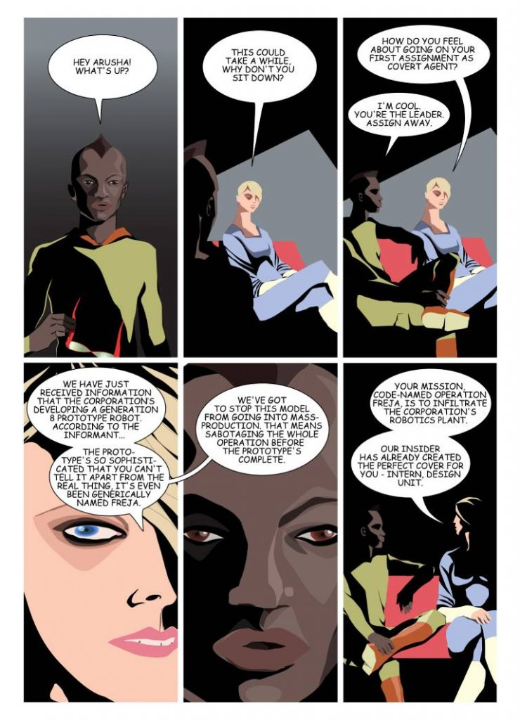 Ananiya, the dystopian protagonist in my graphic novel talking to the resistance leader about an undercover mission