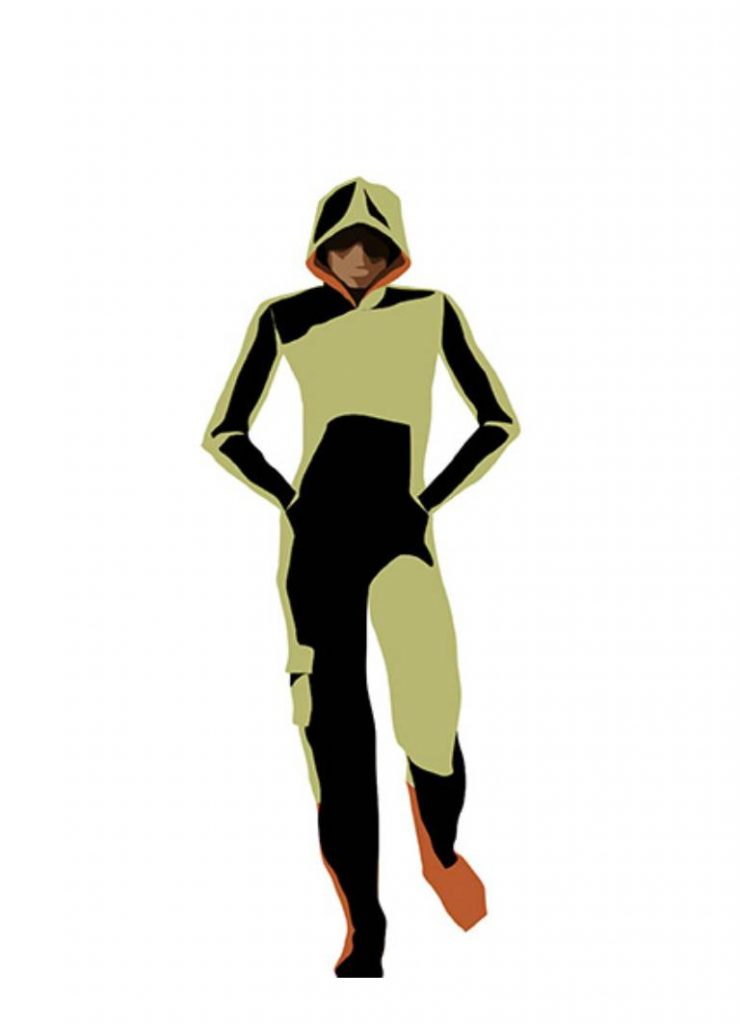 This is an illustration of a girl wearing a hooded jumpsuit that is based on dystopian fashion