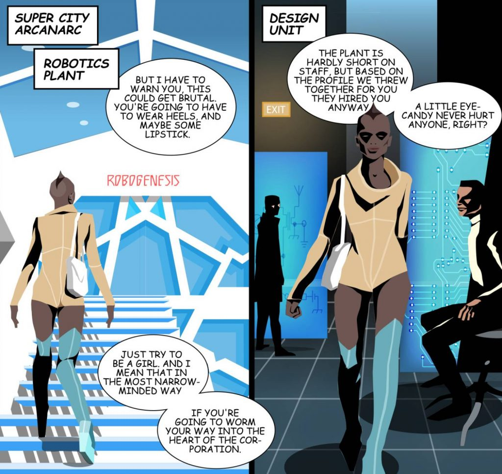 The illustration is a back view and front view of a girl wearing a catsuit based on dystopian fashion as she purposely walks through a high tech office