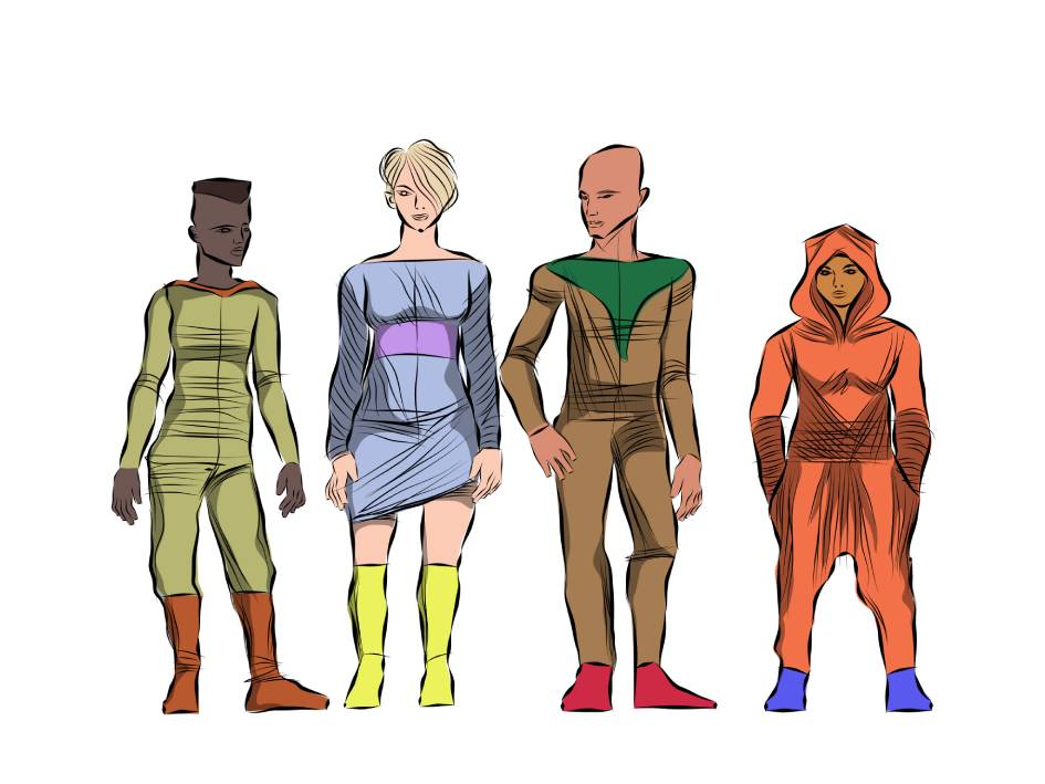 Illustration of characters from the dystopian graphic novel, The Revolutionist, posing and displaying their quirky fashion sense.